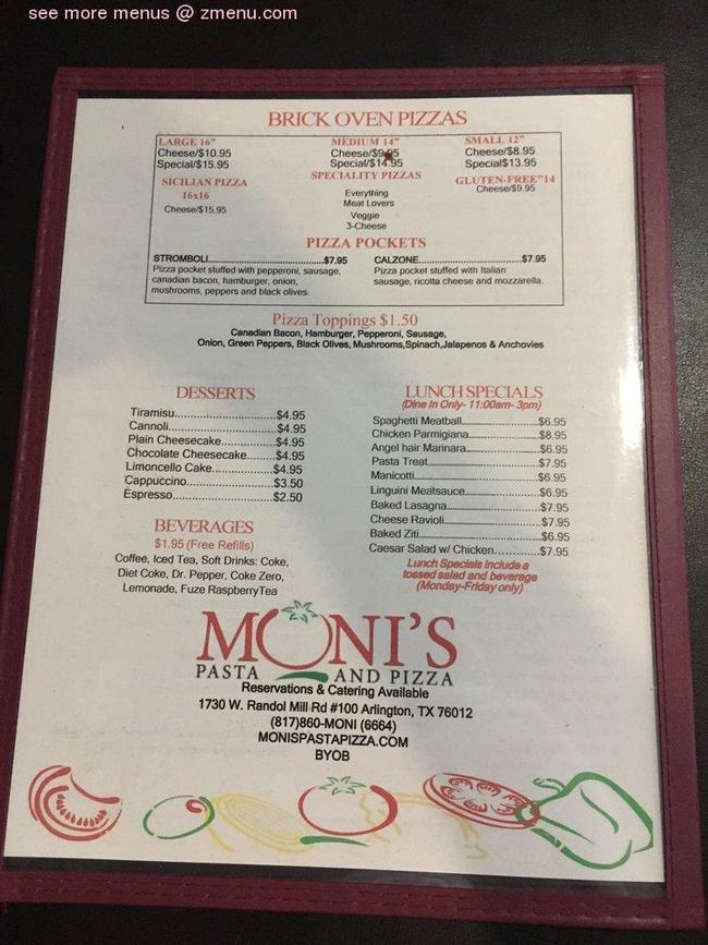 Monis Restaurant Menu